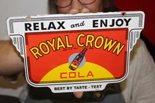 Relax & Enjoy RC Royal Crown Cola Soda Pop Gas Oil Porcelain Metal Sign