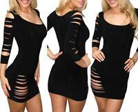 SEXY BLACK CLUB WEAR MINI DRESS SLASHED RIPPED WIGGLE PARTY SIZE 8 10 12