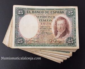 B-D-M España Spain Lote 10 billetes 25 Pesetas Vicente Lopez 1931 Pick 81 BC F