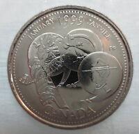 1999 CANADA 25¢ JANUARY MILLENIUM SERIES BRILLIANT UNCIRCULATED QUARTER