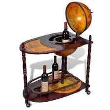 Globe Mini Bar Cabinet Wooden Glass Bottles Table Trolley Storage Wood Portable