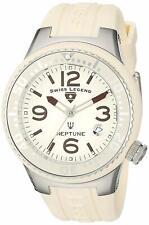 Swiss Legend 11044P-016 Beige Rubber Strap Silver Case Swiss Eagle Quartz Watch