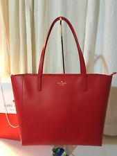 NWT Kate Spade New York Violeta White Street Tote Purse Pricky Pear (Red) XL