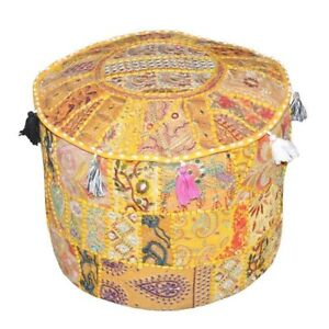 Indian Vintage Handmade Round Ottoman Pouffe Cover Cotton Footstool Home Decor