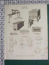 1811 fechado Antiguo impresión ~ Vela candel-making equipos diversos ~ Candelabros