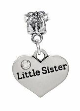 Little Sister Heart Younger Sibling Gift Dangle Charm for European Bead Bracelet