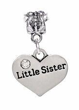 Little Sister Heart Younger Sibling Gift Dangle Bead for European Charm Bracelet