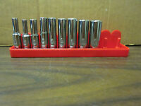 "9pc DeWALT 1/4"" DR SAE DEEP 6-POINT LASER ETCHED SOCKET SET 3/16"" - 1/2"" CHROME"