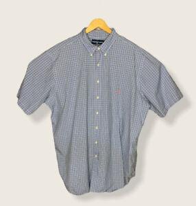 """Ralph Lauren Polo 2XLT TALL Button Down SS Dress Shirt Blue White Check  """"Flaw"""""""