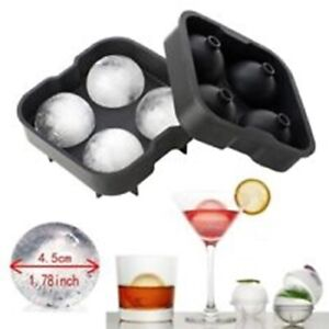 Large Round Ice Cube 4 Whiskey Ball Silicone Mould Tray Sphere Paperweight Craft