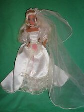 1991 Dream Bride Barbie Doll with most of Original Cream Satin Outfit