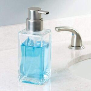 14oz Liquid Foam Hand Soap Lotion Dispenser Pump Stylish Modern Clear Glass