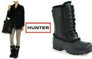 Hunter Genuine Shearling Sheepskin Rubber Leather Snow Rain Black Boots Shoes 8