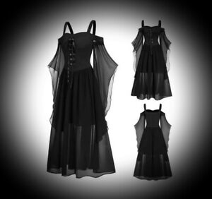 New Black Gothic Corset Front Medieval Butterfly Sleeve Dress size 4XL 22 24 26