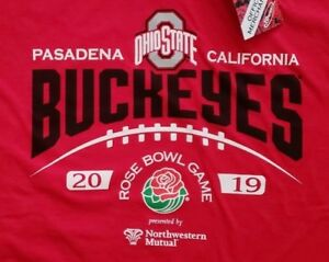 2019 Rose Bowl Game OHIO STATE BUCKEYES Football T-shirt Laces Up (X-LARGE) NEW!