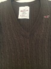 HOLLISTER Cable Knit V-Neck Fitted Ladies Brown Jumper Size Small