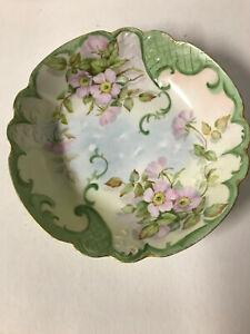 "Vintage Limoges 10"" Bowl Flowers Gold Trim Hand Painted France - Numbered"
