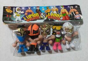 "Wrestling 3"" set of 5 figures, Lucha Libre Luchadores Cabezones (7)"