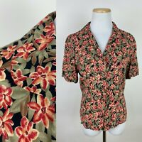 VTG 90s does 40s Floral Print Blouse S Soft Rayon Earth Tone Red Ochre Sage Chic
