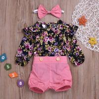 3PCS Infant Baby Girl Princess Long Sleeve Floral Romper Top Tee+Pants Kids Set
