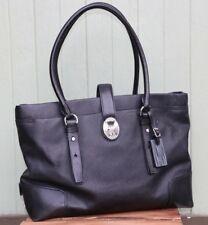Tumi Authentic Black Leather Shoulder Tote Laptop Bag Women's Medium Size