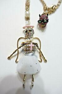 BETSEY JOHNSON Angel Devil Skull Skeleton Ballerina Tutu Rosary Style Necklace