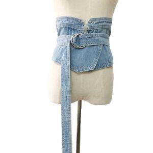 Womens Buckle Denim Wide Waist Corset Band Casual Slimming Bandage Belt Strap