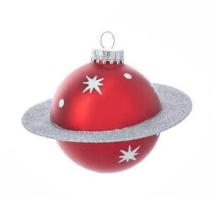 """SATURN GLASS ORNAMENT 4.5"""" Red Planet Mid-Century Retro Space Christmas Tree"""