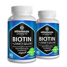 Biotin hochdosiert 2 Dosen: 10mg + Selen + Zink für gesunde Haut, Haare & Nägel
