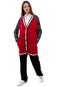 RRP €135 MY TWIN TWINSET Cardigan Size M Angora & Wool Blend Lace Inserts Y-Neck