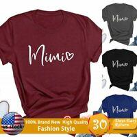 Women Fashion Tops Mimi Heart Graphic T Shirt Short Sleeve Tees Casual Tops