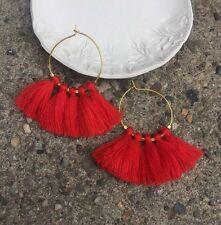 Boho Summer Earrings Bright Fire Red Tassel Fringe & Gold Plated Hoop Urban