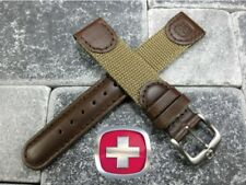 New Brown Leather Strap Nylon Watch Band 20mm 19mm 18mm Wenger Swiss Army Brown