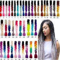 24 Ombre Dip Dye Kanekalon Jumbo Braid Hair Extensions Fiber Braid New O6S0