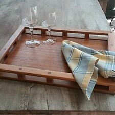 """Dansk teakwood tray with galley rails . vintage 60's by Jens Quistgaard 18 x 14"""""""