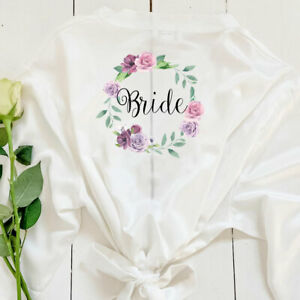 Personalised Floral Bride Bridal Kimono V-Neck Robes Bridesmaid Dressing Gown