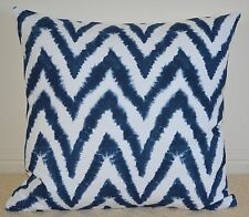 Navy Ikat Chevron Designer Cushion Cover - 45cm x 45cm