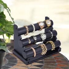 3 Rollen Uhrenständer Uhrenhalter Uhrenaufsteller Armbandständer Leder schwarz