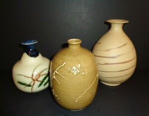 Set of 3 Signed Japanese Studio Pottery Weed Pot Vases Hand Made Fine