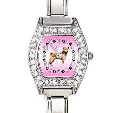 Shiba Inu Dog CZ Lady Stainless Steel Italian Charm Bracelet Wrist Watch BJ1124