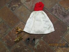 Vintage Barbie Clothing, Red & White Evening Dress w, Belt, Purse & Black Shoes