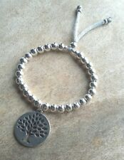Silver Mulberry Tree Coin Charm Ball Beaded Bracelet Adjustable Slider Stacker