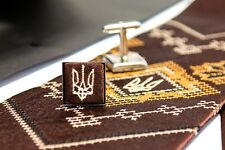 Ukrainian Kit Neck Tie Hanky Cufflinks Embroidered Tryzub Vyshyvanka Brown Color