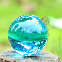 60mm Asian Natural Quartz Lake Blue Magic Crystal Cut Healing Ball Sphere +Stand