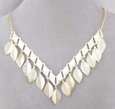 Gold V With Leaf Dangles Necklace Fashion Jewelry NEW Pretty