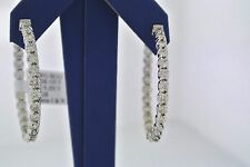 "14k White Gold 5.25 CT Diamond Inside Out Hoop Earrings, 14.3gm, D-1.5"",S103435"