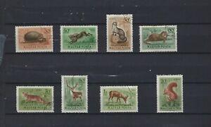 Set of 8 1953 Animal Stamps Hungary Mammals Fauna Scott# C111-C118 LH
