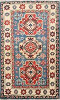 2x3 BLUE Geometric Super Kazak Oriental Area Rug Wool Hand-Knotted Foyer Carpet