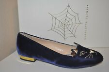 CHARLOTTE OLYMPIA Kitty Embroidered Velvet Slippers Flat Shoe 5.5 Navy Blue 35.5