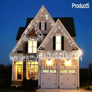 Icicle Snowing Effect Lights Christmas Xmas LED 960 White Outdoor/Indoor